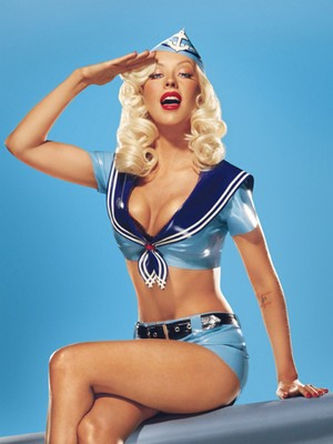 Christina Aguilera sailor outfit blue background 300x400 300707 Celebrate the 4th of July Pin up Style!