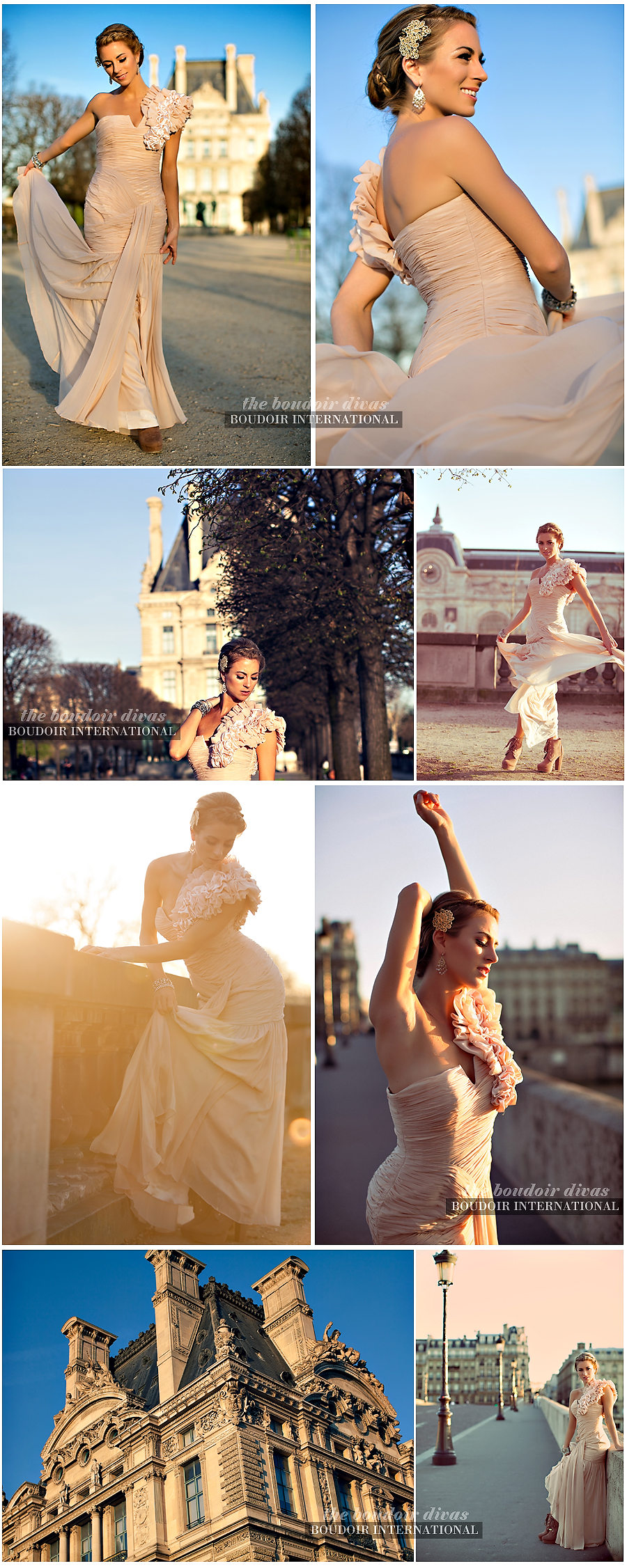 boudoir photos paris sunny louvre fashion gown seine A dreamy Paris photo shoot...
